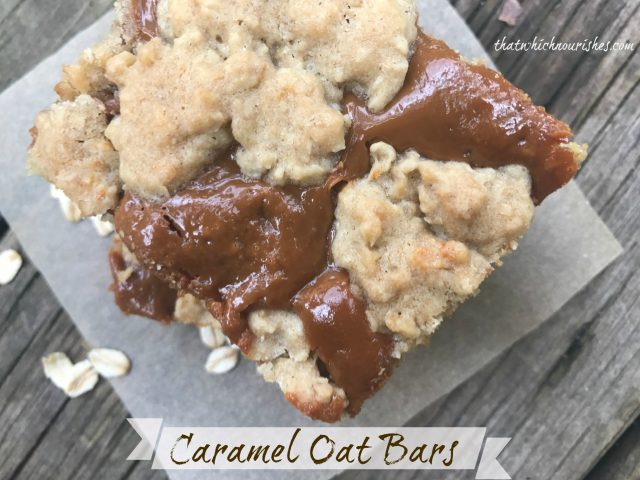 Caramel Oat Bars -- Chewy oatmeal bars are blanketed in a decadent layer of dulce de leche caramel making a rich and delicious dessert that serves a large group. | thatwhichnourishes.com