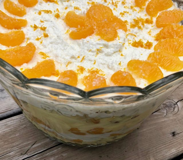 Orange Vanilla Trifle -- Layers of from-scratch goodness in the form of orange pound cake, vanilla pudding, and freshly whipped cream come together to make a creamy, citrusy show-stopping dessert. | thatwhichnourishes.com