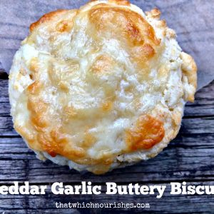Cheddar Garlic Buttery Biscuits -- All the flaky, buttery goodness you love in my Buttery Biscuits just got taken up some notches with the addition of cheese and garlic! | thatwhichnourishes.com