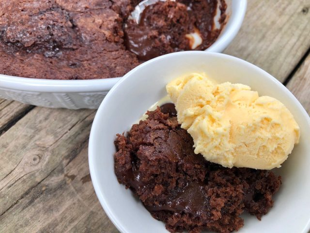 Gooey Chocolate Cobbler -- Because what is better than Gooey Chocolate Cobbler easily made with pantry ingredients into a showstopping, dessert with a molten center and crispy edges? | thatwhichnourishes.com