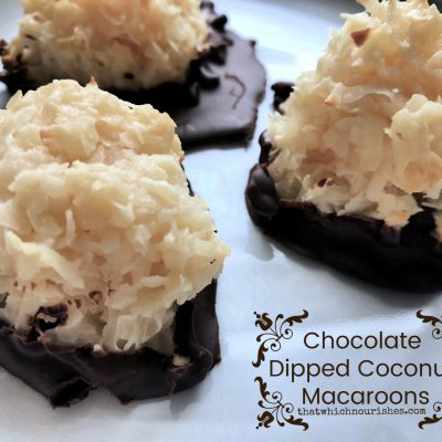Chocolate Dipped Coconut Macaroons -- Chewy, gooey bites of coconut wading in a pool of chocolate -- these little bites of yum taste like your favorite coconut/chocolate candy bar and are made with just a few ingredients! | thatwhichnourishes.com