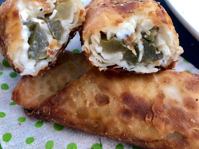 Cream Cheese Stuffed Fried Pickles -- Because what could be better than the crunch of a salty pickle tucked in a blanket of cream cheese and wrapped and fried in healthy oil? Three ingredients and you have an easy showstopper! | thatwhichnourishes.com