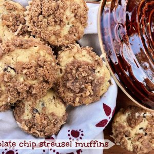 Chocolate Chip Streusel Muffins -- Sweet cinnamon streusel winds its way through the center of the perfect muffin studded with melty chocolate chips and topped with more of the same spicy streusel on top. Muffin heaven. | thatwhichnourishes.com