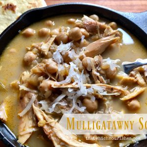 Mulligatawny Soup -- Mulligatawny Soup is a rich and intensely flavorful soup that combines warm and exotic spices with creamy coconut milk, chicken, and chickpeas to make a feast for your senses. | thatwhichnourishes.com