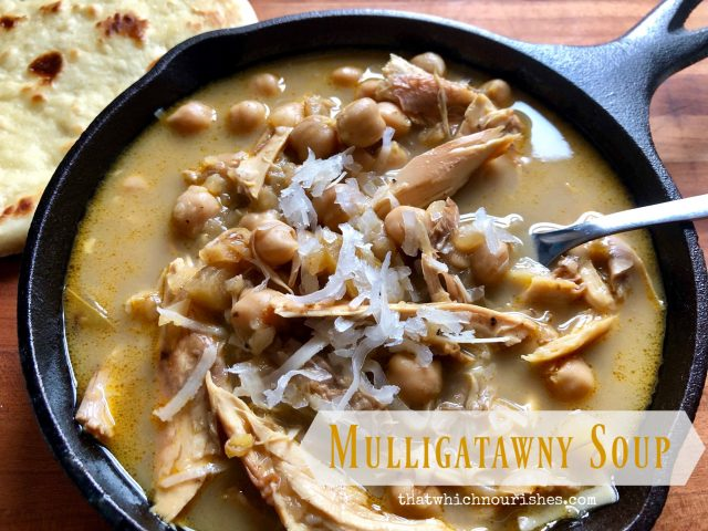 Mulligatawny Soup -- Mulligatawny Soup is a rich and intensely flavorful soup that combines warm and exotic spices with creamy coconut milk, chicken, and chickpeas to make a feast for your senses.   thatwhichnourishes.com
