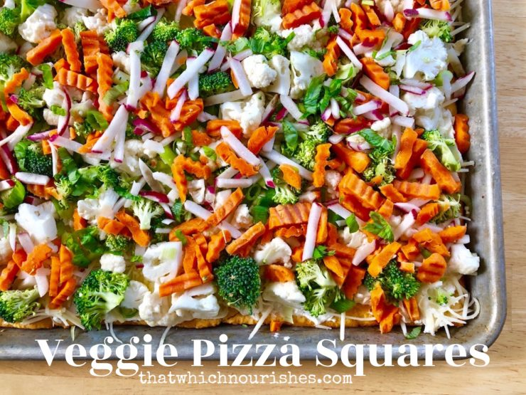Veggie Pizza Squares -- All your favorite fresh veggies atop a layer of herbed cream cheese on a crispy crust makes the perfect delectable dish to share!   thatwhichnourishes.com