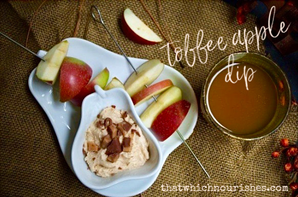 Toffee Apple Dip -- Apples never had it so good. Tangy cream cheese gets sweetened and jazzed up with spices and toffee bits to make an outstanding, drool-worthy dip. | thatwhichnourishes.com