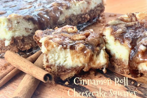 Cinnamon Roll Cheesecake Squares -- Goozy cinnamon roll filling draped and dripping from atop perfectly creamy little squares of cheesecake. These are all of the cinnamon-roll-love without the work! | thatwhichnourishes.com