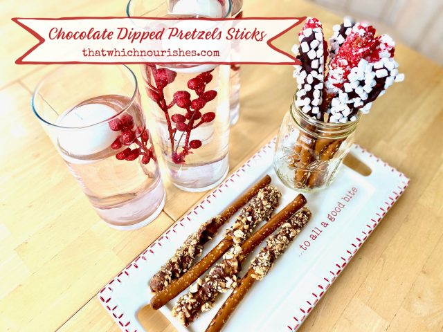 Chocolate Dipped Pretzel Sticks -- An easy, no-bake crowd-pleaser, these Chocolate Dipped Pretzel Sticks are festive, fun, and fabulously yummy! It's so easy to create that perfect, sweet and salty flavor combo we all crave! | thatwhichnourishes.com