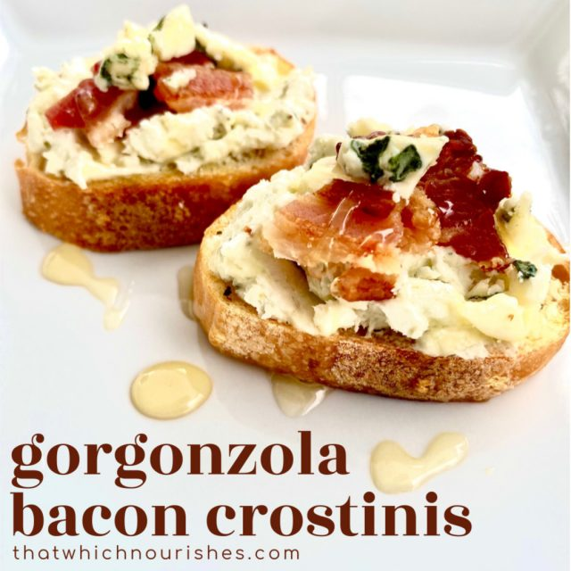 Gorgonzola Bacon Crostinis -- Crispy, seasoned and toasted baguette slices schmeared with a flavorful bleu cheese and cream cheese combination, topped with salty bacon, and drizzled with honey. | thatwhichnourishes.com