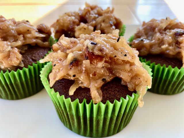 German Chocolate Cupcakes from scratch -- Moist, fabulous, german-chocolate-y, from-scratch cupcake goodness piled with coconut-pecan caramel perfection. These are the cupcakes you wish for with no box needed -- just easy pantry ingredients! | thatwhichnourishes.com