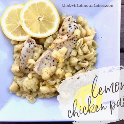 Lemon Chicken Pasta -- Buttery, bright, and beautiful in its simplicity, this pasta dish comes together in minutes starting with uncooked pasta, chicken, and lots of lemon baked in one dish! |thatwhichnourishes.com
