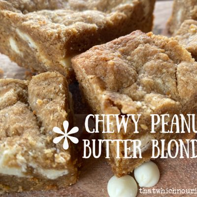 Chewy Peanut Butter Blondies -- Chewy, peanutty, dense in the middle with the perfect corner bites, these babies are studded with white chocolate, simple to make and most delicious to eat! | thatwhichnourishes.com