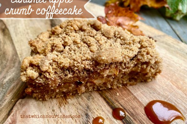 Caramel Apple Crumb Coffeecake -- A layer of spiced cake, followed by cinammon apples, blanketed by buttery crumbs, this coffeecake drizzled with caramel IS Fall perfection! |thatwhichnourishes.com