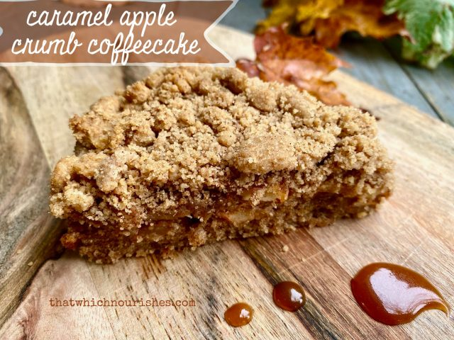 Caramel Apple Crumb Coffeecake -- A layer of spiced cake, followed by cinammon apples, blanketed by buttery crumbs, this coffeecake drizzled with caramel IS Fall perfection!  thatwhichnourishes.com