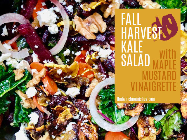 Fall Harvest Salad -- A gorgeous Fall salad celebrating local ingredients in a non-fussy way, featuring kale, beets, and squash in a perfect balance of sweet and savory. | thatwhichnourishes.com