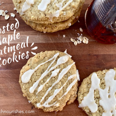 Frosted Maple Oatmeal Cookies -- Chewy, buttery, maple-y, pretty much perfect cookies, filled with oats and drizzled with a maple glaze. | thatwhichnourishes.com