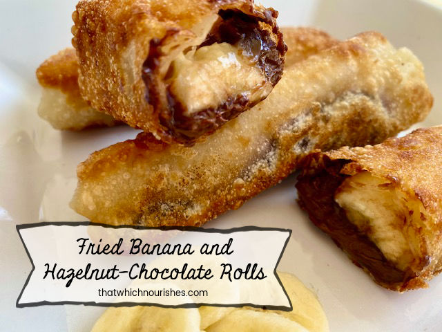 Fried Banana and Hazelnut-Chocolate Rolls - Warm, silky, gooooozy hazelnut-chocolate dripping down your chin as you bite into a crispy shell fried in coconut oil and packed full of warm banana. | thatwhichnourishes.com