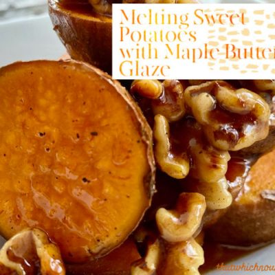 Melting Sweet Potatoes with Maple Butter Glaze -- Sweet potatoes with caramelized edges and soft as butter centers, loaded with flavor and drizzled with a simple, gooey maple butter glaze. | thatwhichnourishes.com