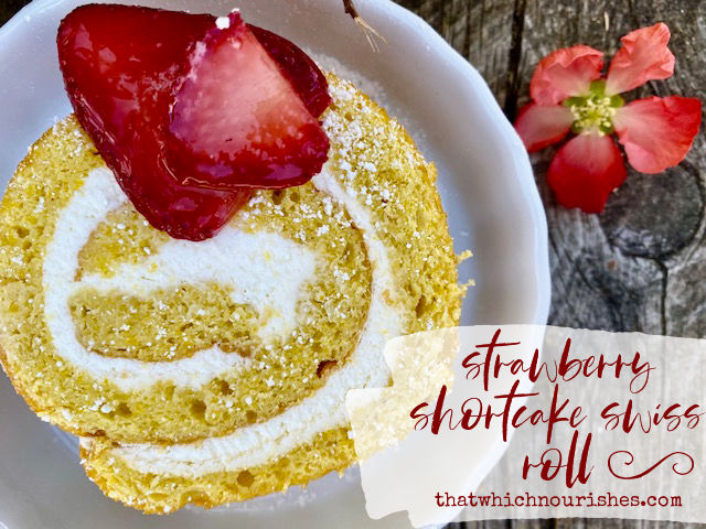 Strawberry Shortcake Swiss Roll -- Soft and lemony sponge cake swirled with soft and sweetened whipped cream and decorated with sugary strawberries, this Strawberry Shortcake Swiss Roll puts a whole new spin on a favorite summer dessert! | thatwhichnourishes.com