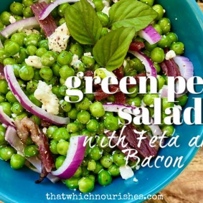 Green Pea Salad with Feta and Bacon -- a fresh new side dish brimming with summer bounty and the savory-salty flavors of bacon and creamy Feta cheese in a simple creamy sauce. | thatwhichnourishes.com