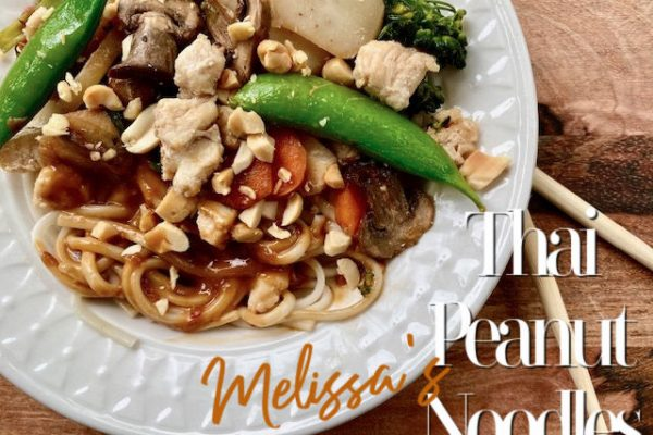 Melissa's Thai Peanut Noodles -- Simple ingredients and a fast and oh-so-delicious Asian peanut sauce come together in a savory winner of a dinner you will love for it's ease and amazing flavors. | thatwhichnourishes.com